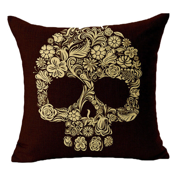 Linen Cushion Covers Skull Printed For Sofa Decor Throw Pillow Case