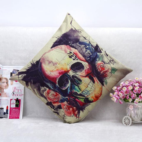 Halloween Skull Pillow Case Sofa Waist Throw Cushion Cover Home Decor