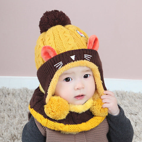 Image of Cool Knitted Hat and Scarf Set - [5 Variants]