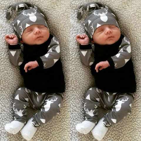 Image of Baby Boy Deer printed outfit sets