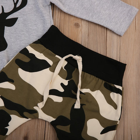 Camouflage Newborn Baby Boy Clothes Long Sleeve Deer T-shirt