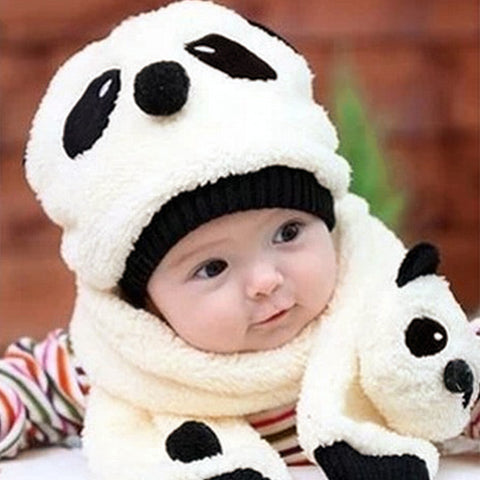 Image of Panda Knitted Warm Scarf& Hat - [5 Variants]