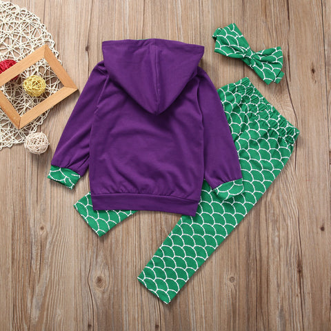 Image of Girl's Colored Mermaid 3-Piece Set