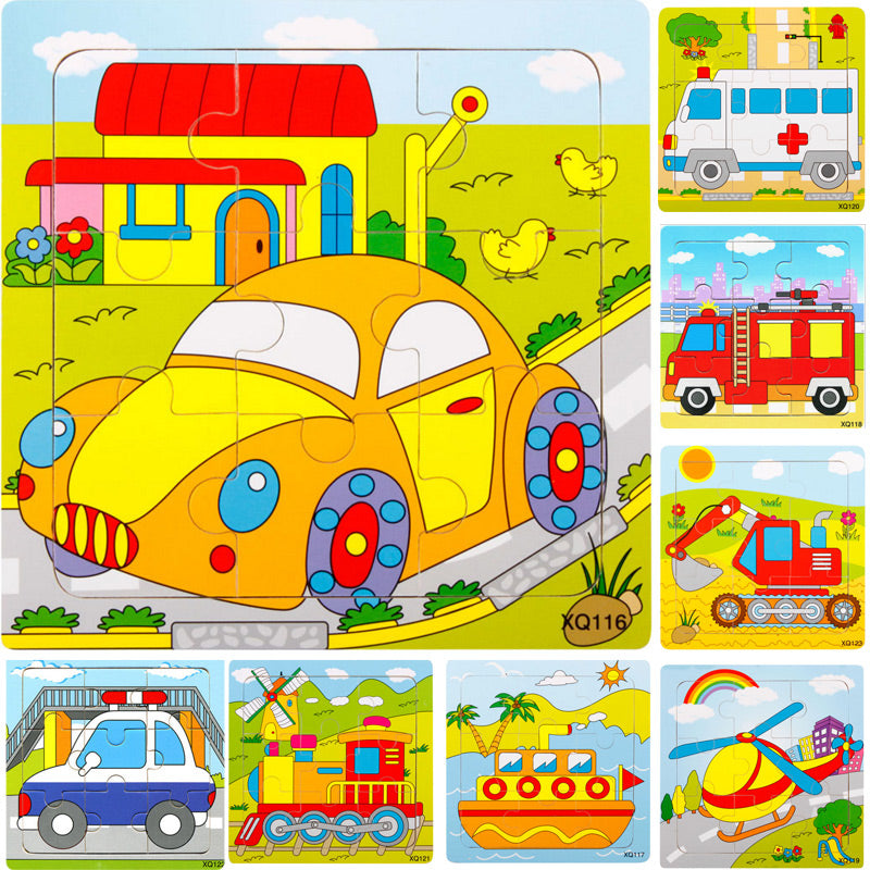 Cartoon Vehicle Puzzle Toy - [4 Pieces]