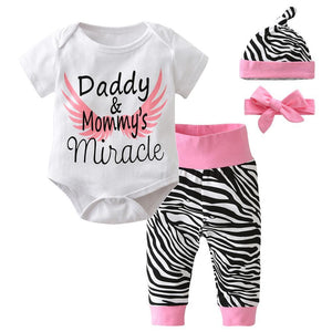 Newborn Baby Girls 4pcs Clothes Short Sleeve Bodysuit