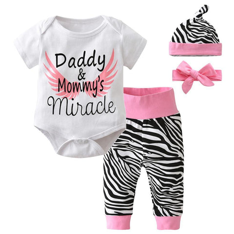 Image of Newborn Baby Girls 4pcs Clothes Short Sleeve Bodysuit