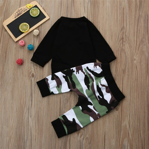Image of Baby Boys Long Sleeve Top and Camouflage Pants Set