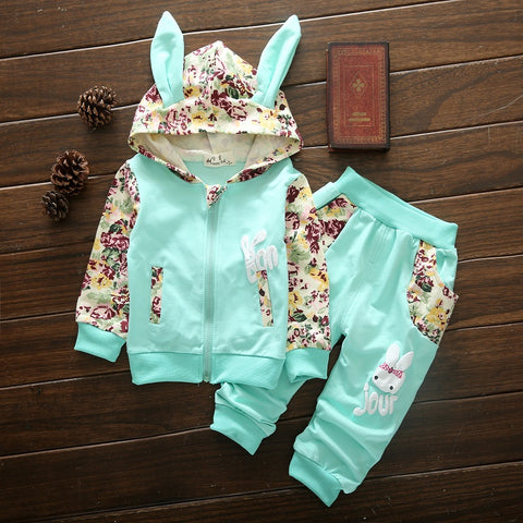 Girls Floral Bunny Outfit Set - [3 Variants]