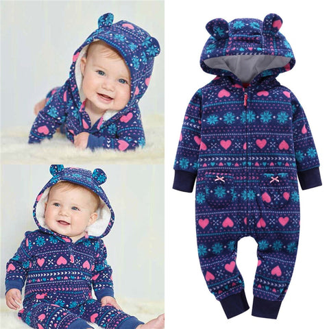 Cute Bear Baby Boy Girl Hooded Romper