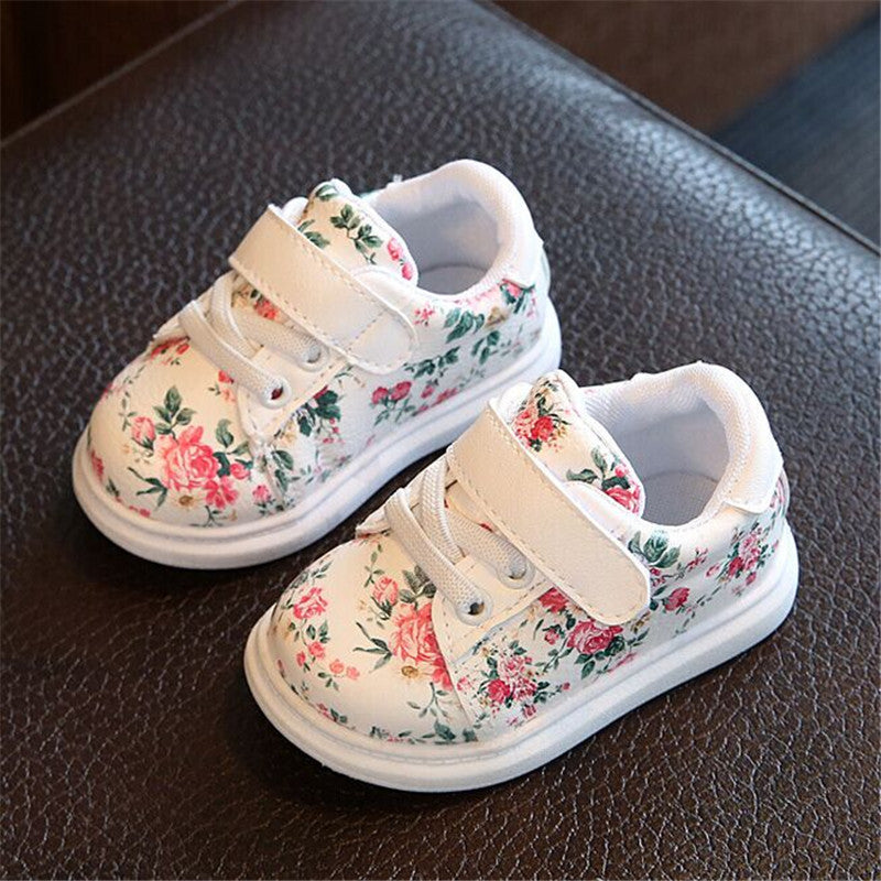 Floral Print Hook & Loop Sneakers - [3 Variants]