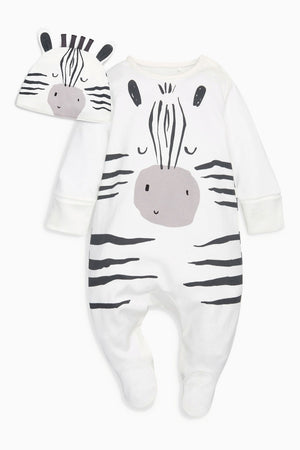 Baby's Long Sleeve Zebra Jumpsuit