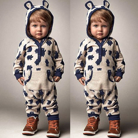 Image of Toddlers Hooded Romper Outfit