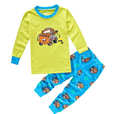 Image of Cute Vehicle Print Sleepwear Pajama Set - [2 Variants]