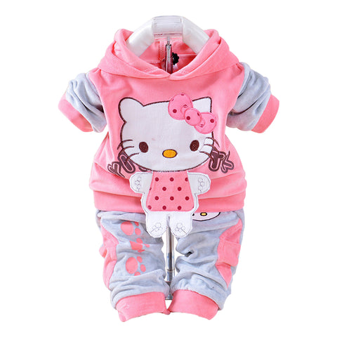 Image of Baby's Velvet Kitty Clothing Set