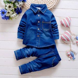 Baby Boy 2 Pieces Denim Shirt And jean Set