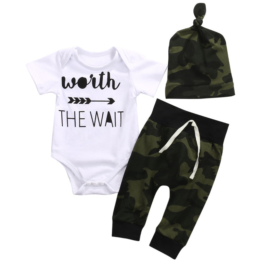 Baby's Green Army Bodysuits