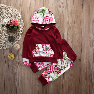 4a12694e260f3 ... Toddler Baby Girl Boy Floral Tops Hoodies +Long Pants 2Pcs Outfits Set  Clothes