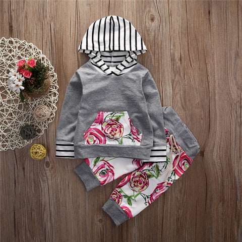 Image of Toddler Baby Girl Boy Floral Tops Hoodies +Long Pants 2Pcs Outfits Set Clothes