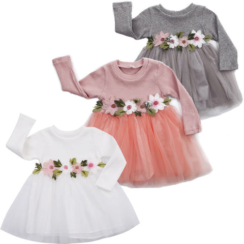 Image of Baby Girl Long Sleeve Flower Dress
