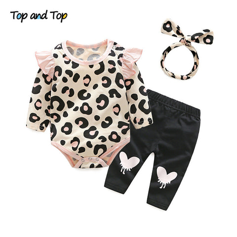 Image of Baby Girls Leopard Print Rompers Headband Pants 3PCS Outfits Set