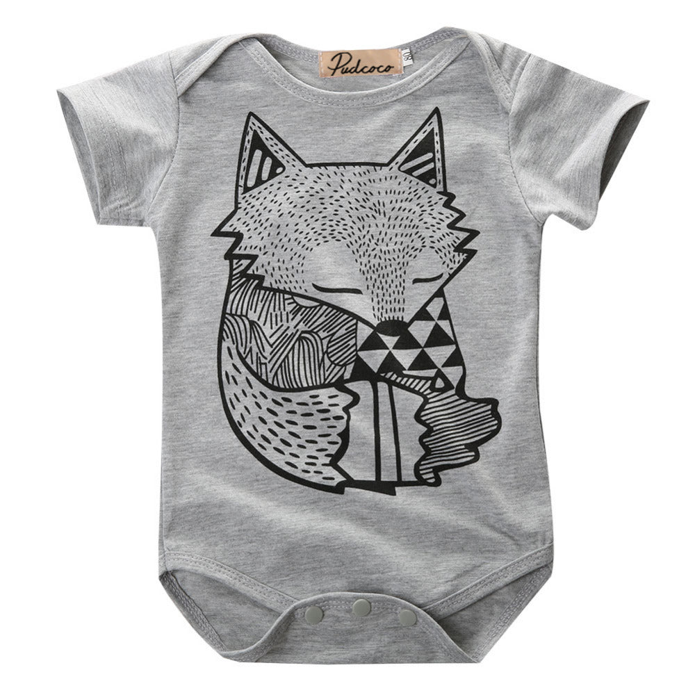 Fox Printed Baby Sunsuit Outfit