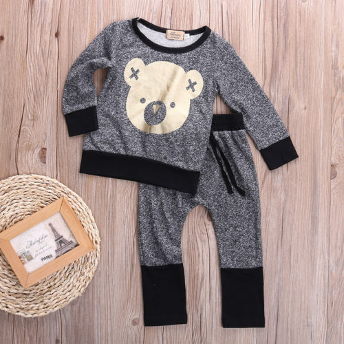 baby Bear Printed Outfit Set