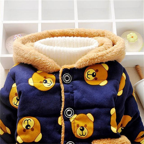 Winter Boys&Girls Cartoon Bear Cotton-padded Outwear