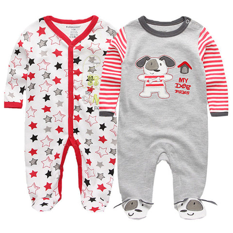 Image of 2 PCS Baby O-neck Long Sleeve Pyjama - [21 Variants]