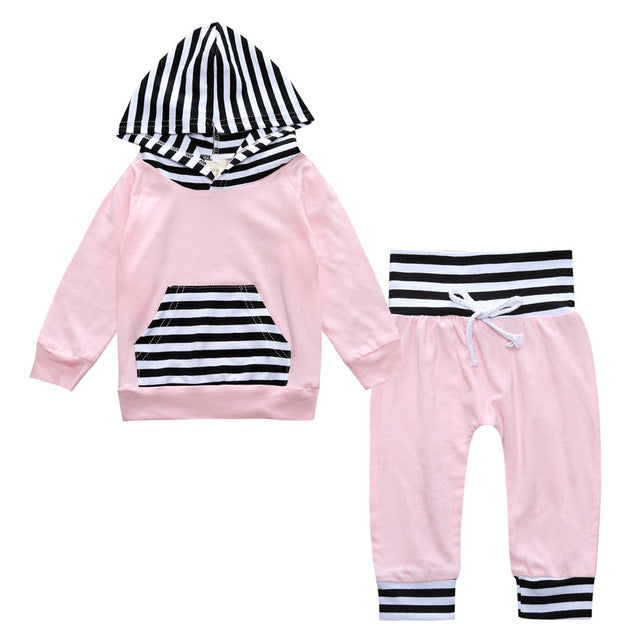 Baby Stripe Hoodie and pants set - [11 Variants]