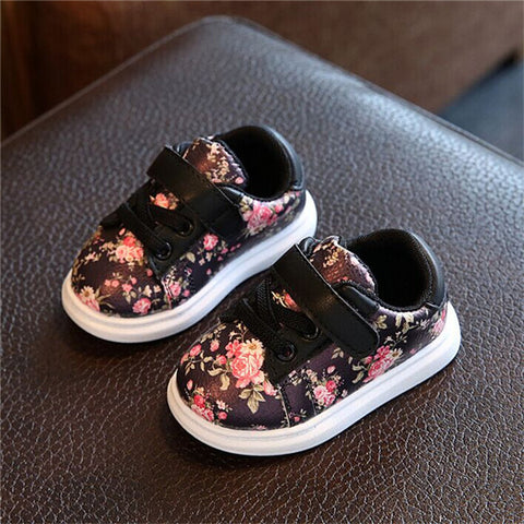 Image of Floral Print Hook & Loop Sneakers - [3 Variants]