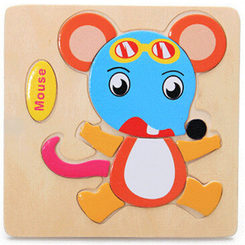 Image of Wooden Educational Jigsaw Animal Puzzle Toys