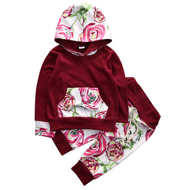 Toddler Baby Girl Boy Floral Tops Hoodies +Long Pants 2Pcs Outfits Set Clothes