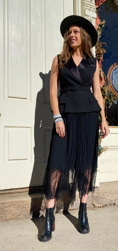 self-portrait Crepe and Chiffon Tuxedo Midi Dress