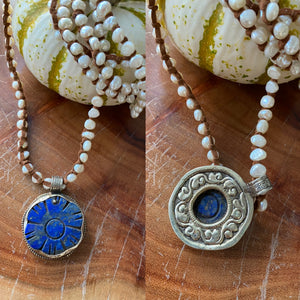 Tess Pearl and Tibetan Pendant Necklaces