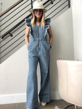 Load image into Gallery viewer, Sea Mara Denim Ruffle Jumpsuit