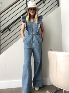 Sea Mara Denim Ruffle Jumpsuit