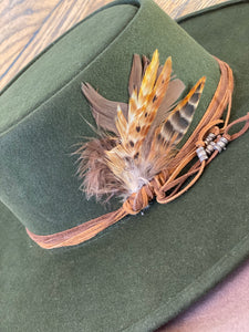 SC Flat Brim Hat W/Feather 22 1/2