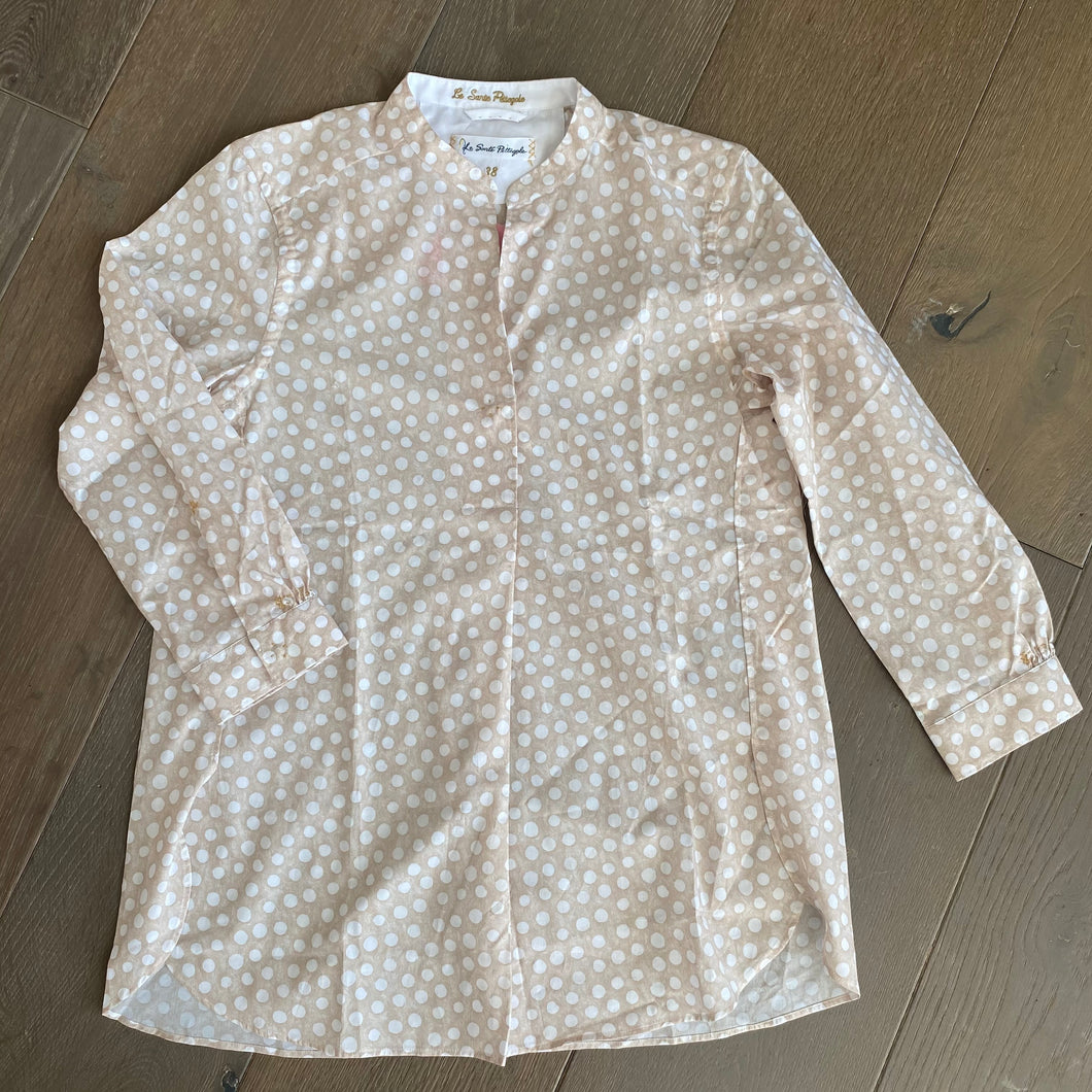 Le Sarte Collarless Polka Dot Blouse