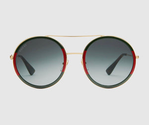 Gucci Round Frame Glasses with Gold Bar