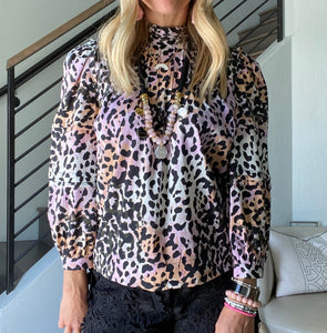 Veronica Beard Leopard Blouse