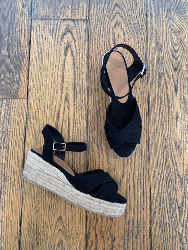 Castañer Low Black Wedge