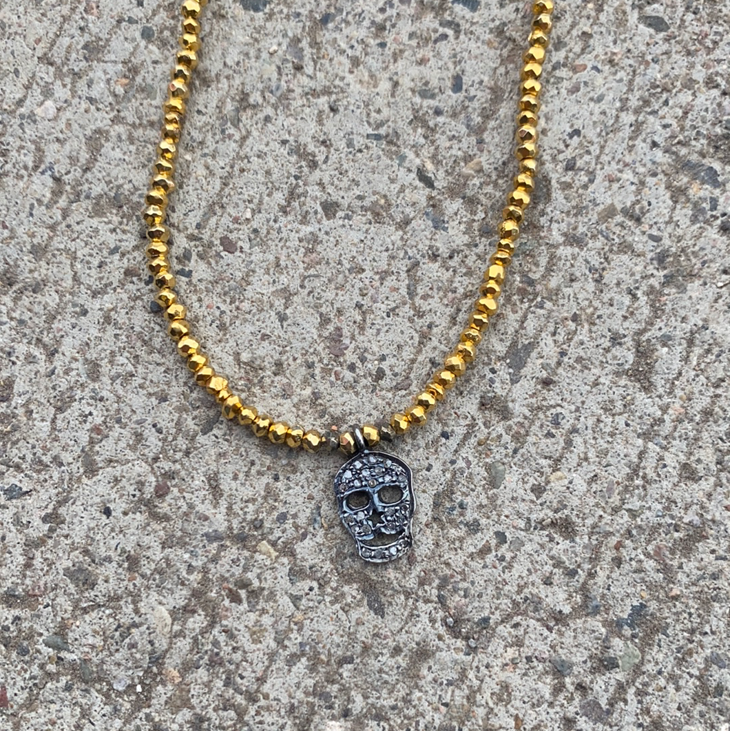 Nicole Schumann Gold and Pyrite Skull Necklace