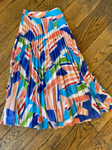 Milly Print Pleated Skirt