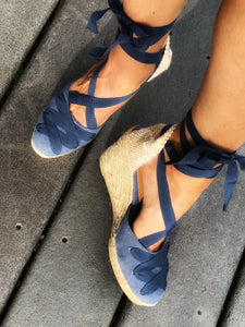 Castañer Denim Whipstitch Wedge