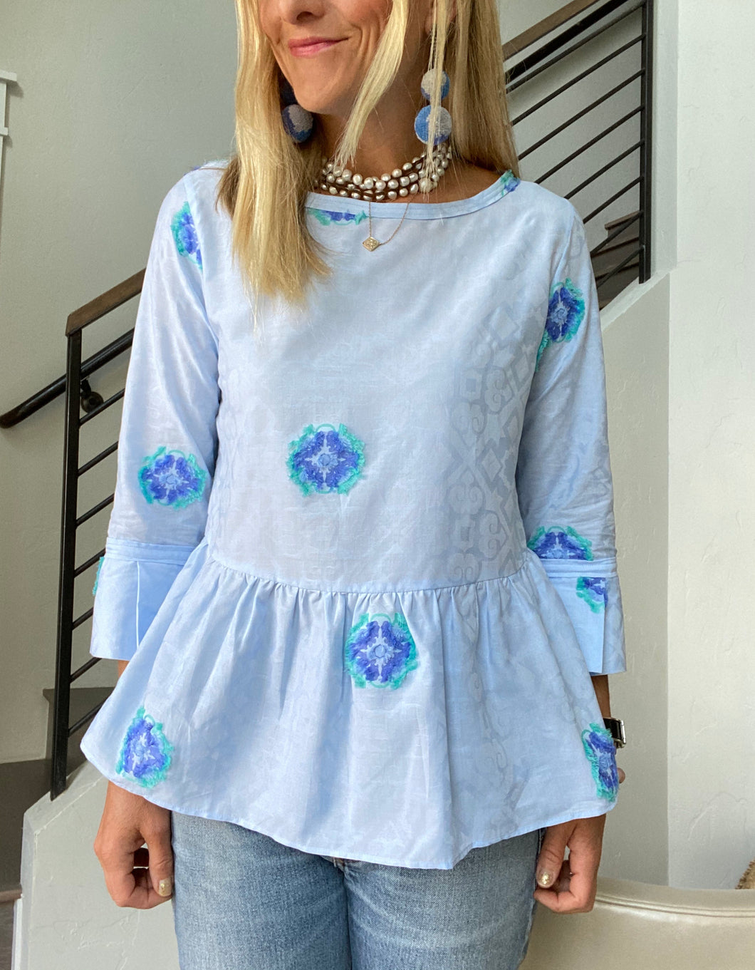 Caliban Blue Appliqué Blouse