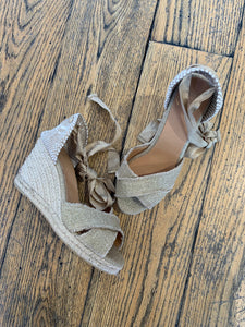 Castañer Gold Open Toe Wedge