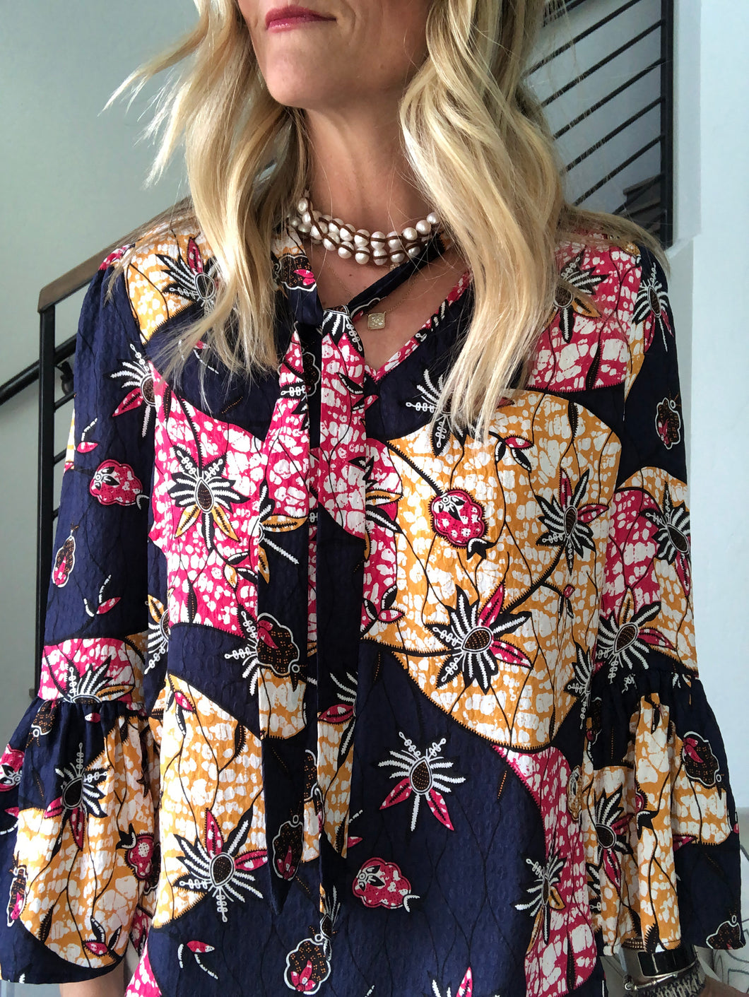 Warm Tropical Flower Blouse