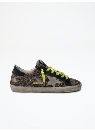 Golden Goose Superstar Leopard Ice Star w/Yellow Laces