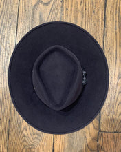 Load image into Gallery viewer, Susan Carrolan Felt Flat Brim Charcoal w/ Grey Studded Band 22 1/2