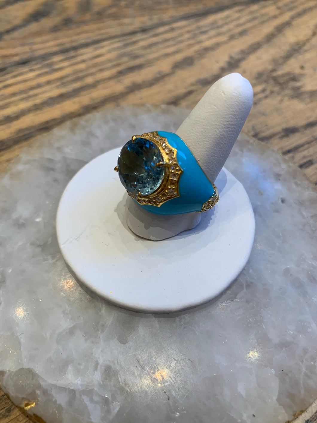 Evergreen Turquoise Enamel and Topaz Ring